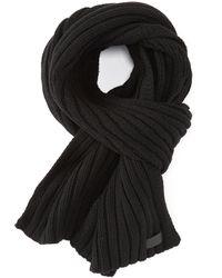 UGG Men's Diagonal Ribbed Stripe Scarf - Black