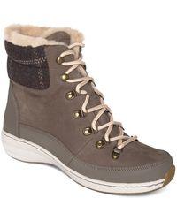 Aetrex Jodie Waterproof Leather Wedge Booties - Gray