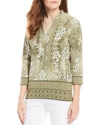 Ruby Rd. - Embellished Funnel Neck Tiki Batik Border Print Knit Top - Lyst