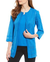 Ming Wang - Crew Neck Burnout Trim Detail 3/4 Sleeve Washable Jacket - Lyst