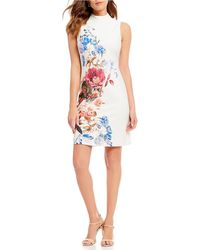 Ivanka Trump - Scuba Printed Mock Neck Floral Print Dress - Lyst