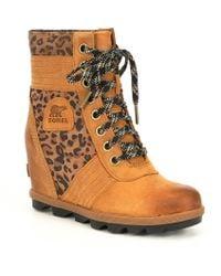 Sorel - Lexie Leather Leopard Wedge - Lyst