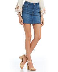 Celebrity Pink - Raw Edge Mini Denim Skirt - Lyst