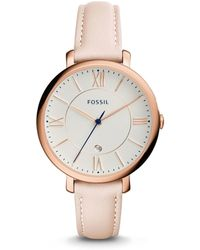 Fossil - Jacqueline Date Blush Leather Watch - Lyst