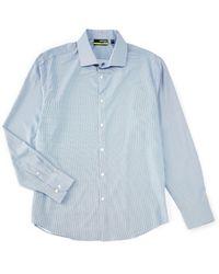 Murano Slim-fit Performance Dobby Long-sleeve Woven Shirt - Blue