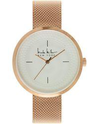 Nicole Miller - Dotted Rim Dial Rose Goldtone Mesh Bracelet Watch - Lyst