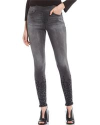 Jag Jeans Maya Pull-on Leopard Print Embroidered Front Hem Detail Skinny Jeans - Gray