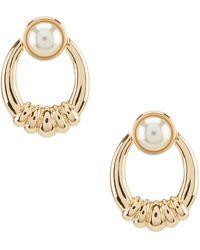 Anne Klein Gold Pearl Doorknocker Earrings - Metallic