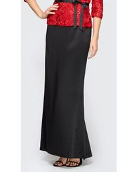 Alex Evenings Satin Fishtail Skirt - Black