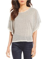 Eileen Fisher - Petite Size Jewel Neck Short Sleeve Striped Top - Lyst
