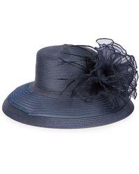 August Accessories Romantic Profile Sheer Brim Dress Hat - Blue