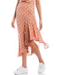Jolt Coordinating Polka Dot Asymmetrical Hem Skirt - Pink