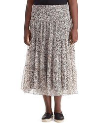 Lauren by Ralph Lauren - Plus Floral Print Georgette Maxiskirt - Lyst