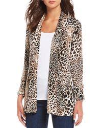 Bobeau Mixed Cheetah Print Shawl Collar Open Front Cardigan - Black