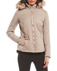 3706e884f0d8 MICHAEL Michael Kors - Diamond Quilted Faux Fur Hooded Zip Front Coat - Lyst