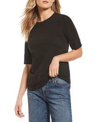 Eileen Fisher - Round Neck Elbow Sleeve Top - Lyst