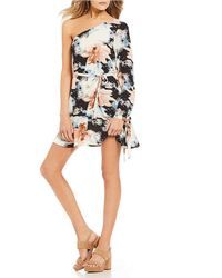 Rossmore. - By Ppla Immie Floral Printed One Shoulder Tie Sleeve Shift Dress - Lyst
