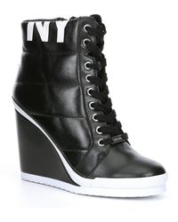 DKNY Noho Wedge Platform Sneakers - Black