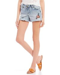Silver Jeans Co. - Aiko Destructed Embroidered Shorts - Lyst