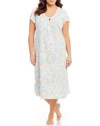 8292705eb0 Lyst - Miss Elaine Cottonessa Floral-print Zip Front Long Robe in Blue