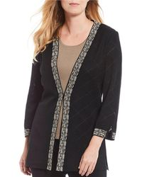Ming Wang Pattern Trimmed Hook Front Notched Sleeve Jacket - Black