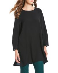 Eileen Fisher - Round Neck Tunic With Side Slits - Lyst