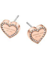 Michael Kors | Logo Heart Stud Earrings | Lyst