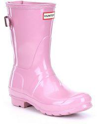 HUNTER - Women's Original Tour Short Adjustable Calf Back Strap Rain Boots - Lyst