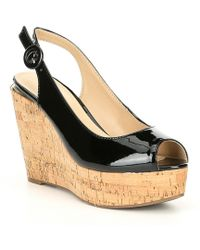 Guess - Hardy Slingback Cork Platform Wedges - Lyst