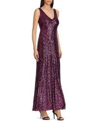 Lauren by Ralph Lauren - V Neck Sequin Gown - Lyst
