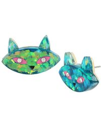 Betsey Johnson - Green Cat Face Stud Earrings - Lyst