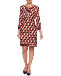 Ruby Rd. - Petite Size Geometric Puff Border Print Split V-neck Shift Dress - Lyst