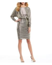 Eliza J - Metallic Foiled Knit Scoop Back Ruched Detail Dress - Lyst