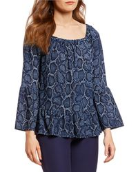 fa68aa331d MICHAEL Michael Kors - Python Snakeskin Print Square Neck Bell Sleeve Top -  Lyst