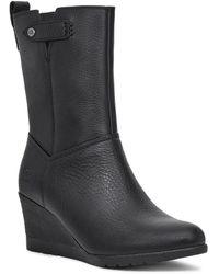 UGG Potrero Waterproof Leather Wedge Boots - Black