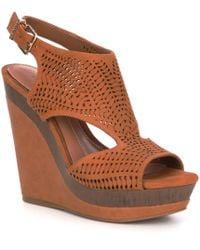 Gianni Bini Leonn Leather Perforated Wedges - Brown