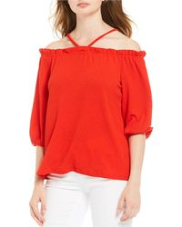 Vince Camuto Off-the-shoulder Crêpe Top - Red
