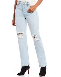 Comune - Aberdeen Thrift Lightly Distressed Hi Rise Straight Fit Jeans - Lyst