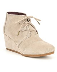 TOMS - Kala Suede Lace Up Wedge Booties - Lyst