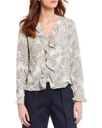Skies Are Blue - Woven Ruffle Tropical Print Button Front Blouse - Lyst