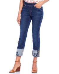 Jag Jeans Lewis Straight Pull-on Jeans W/ Embroidered Cuff In Harbor - Blue