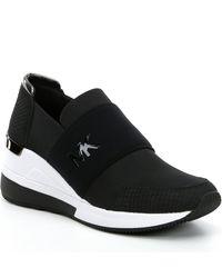 MICHAEL Michael Kors Felix Canvas And Snake-embossed Nubuck Sneaker - Black