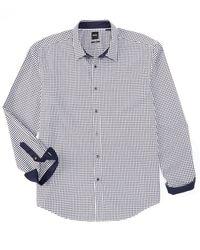 Hugo Boss Black Label Mark US Gray /& Purple Sharp Fit Windowpane Dress Shirt