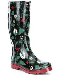 Kate Spade Renata Floral Print Rain Boots - Green