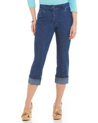 Ruby Rd. - Petite Ff Stretch Denim Ankle Ripped Jeans - Lyst