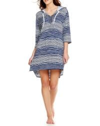 Anne Klein French Terry Striped Lounge Hoodie - Blue