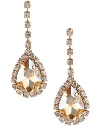 Cezanne - Dangle Rhinestone Teardrop Earrings - Lyst