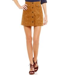 Blu Pepper - Button Front Faux Suede Skirt - Lyst