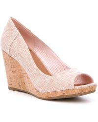 TOMS Stella Cork Wedges - Pink