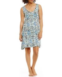 Hue Topia Ornament Dreams Floral Medallion Jersey Chemise - White